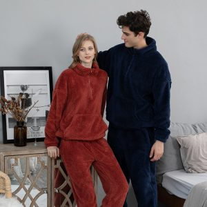 Wholesale autumn and winter coral wool pullovers pajamas