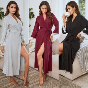 2021 Wholesale autumn and winter lace edge women's robe